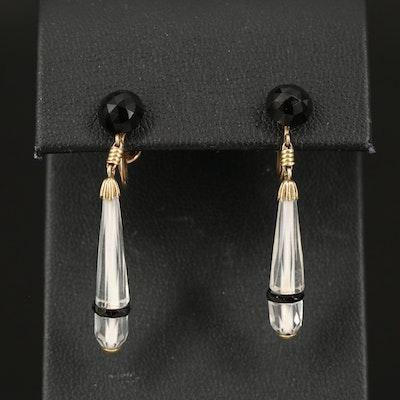 14K Faceted Glass Drop Earrings