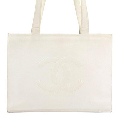 Chanel CC Tote Bag in White Caviar Leather