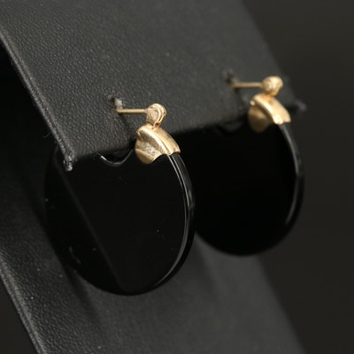14K Black Onyx Disk Earrings