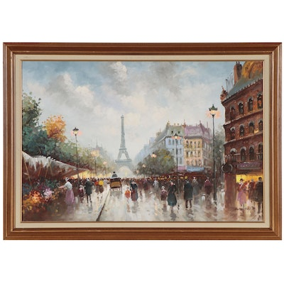 Max Taylor Oil Painting of Paris Street Scene, Late 20th Century