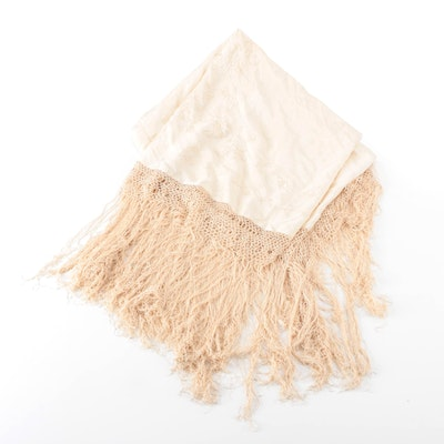 Floral Embroidered Piano Shawl with Hand-Knotted Macramé Fringe