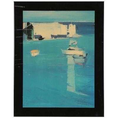 """Offset Lithograph After José Lorenzi """"Village dans l'eau,"""" Late 20th Century"""
