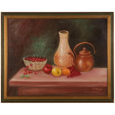 B. Thomas Still Life Oil Painting With Fruit, Late 20th Century