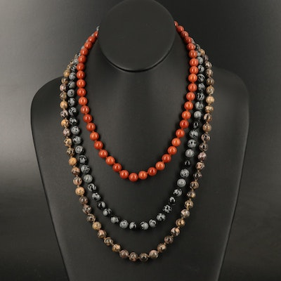 Snowflake Obsidian and Jasper Beaded Necklaces