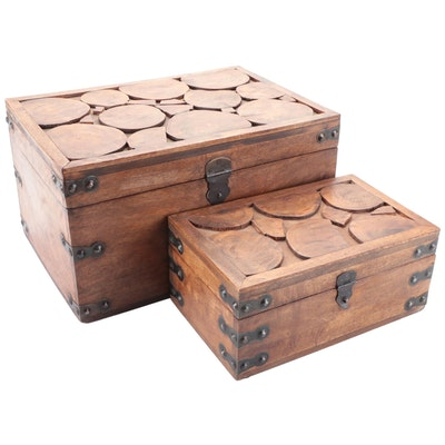 Wood Slice Inlaid Small Trunk and Matching Box