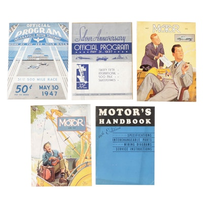 Indianapolis 500 Programs with Motor Magazine and Handbook, Early 20th Century