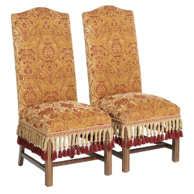 Pair of High Back Plush Upholstered Side Chairs with Fringe Borders