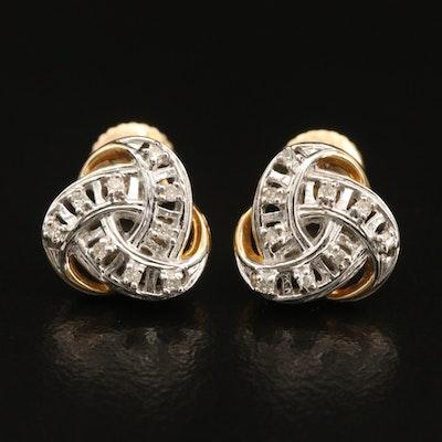 10K 0.09 CTW Diamond Trinity Knot Stud Earrings