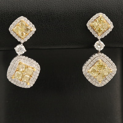 18K 3.28 CTW Diamond Earrings with Yellow Gold Accents