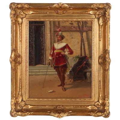 Oldrich Farsky Oil Painting of Musketeer, Circa 1900