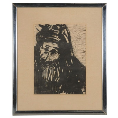Modernist Portrait Woodcut of Elderly Man, Circa 1930