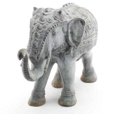 Indo-Persian Style Outdoor Cast Metal Elephant Statue