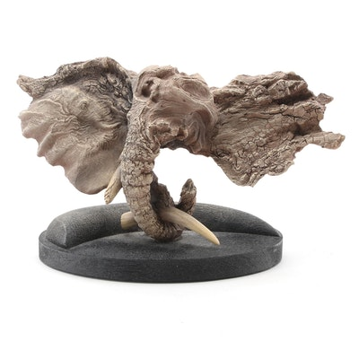 "Rick Cain ""Ivory Hunter"" Molded Resin Elephant Sculpture"