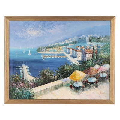 """Coastal Landscape Oil Painting After Kerry Hallam """"Sorrento,"""" Late 20th Century"""