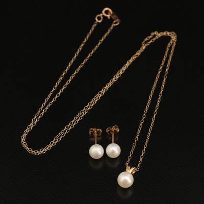 10K Pearl Necklace and Earrings