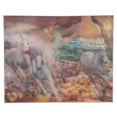 """Mary Sue Weinstein Large-Scale Oil Painting """"Out of the Mist,"""" 1999"""