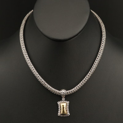John Hardy Sterling Hammered Pendant Necklace with 18K and 22K Accents