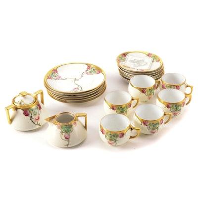Art Nouveau Hobbyist Hand-Painted Porcelain Tea and Dessert Service