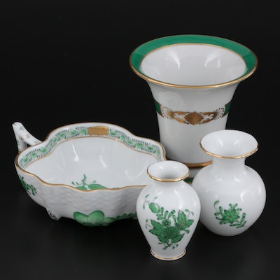 """Herend """"Chinese Bouquet Green"""" Bud Vases and Leaf Dish with """"D' Or Green"""" Vase"""