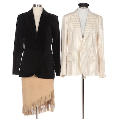 Polo Ralph Lauren Velvet and Linen Jackets with Calf Suede Fringed Skirt