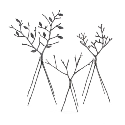 Metal Twig Reindeer Figurines
