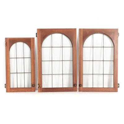 Arched Six-Panel Glass Pane Wooden Cabinet Doors