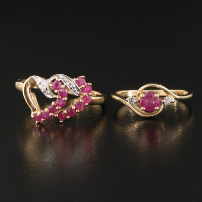 10K and 14K Ruby and Diamond Rings