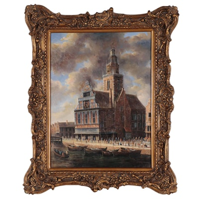 Large-Scale Oil Painting of Cathedral, Late 20th Century