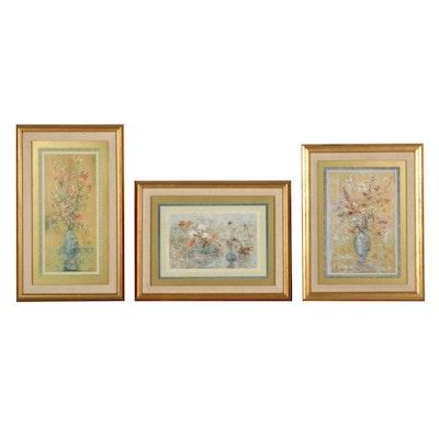 Edna Hibel Floral Still Life Offset Lithographs, 1983