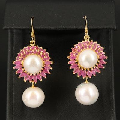 Sterling Pearl and Ruby Earrings