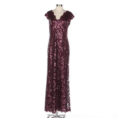 Tadashi Shoji Sequin Evening Gown in Merlot