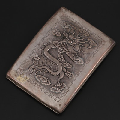 Chinese Export Silver Plate Repoussé Dragon Cigarette Case, Mid-20th Century