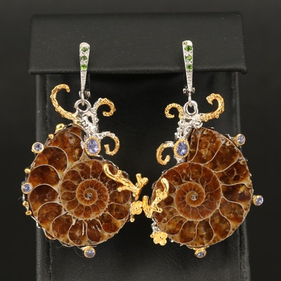 Sterling Ammonite, Tanzanite and Diopside Earrings