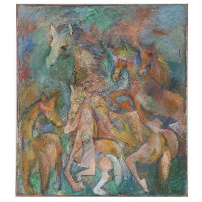 "Clara Israel Oil Painting ""Fantasia III,"" Mid-20th Century"
