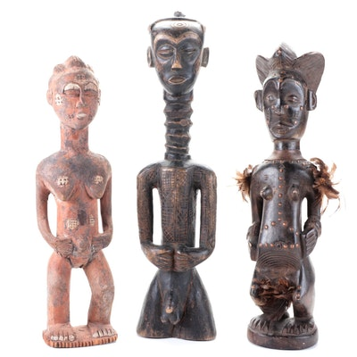 Dengenese Hand-Carved Wood Figure with Central and West African Style Figures