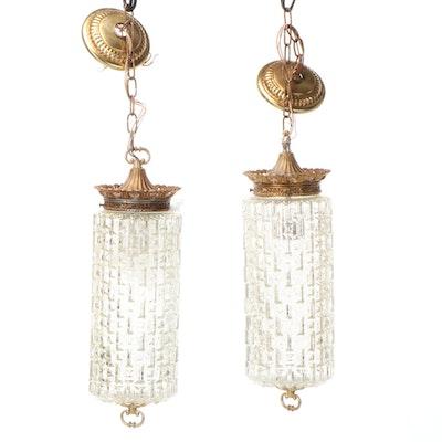 Pair of Metal and Glass Lighting Pendants