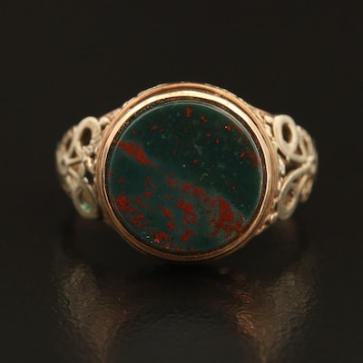 10K Bloodstone Ring with Vintage Components