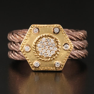 Charriol 18K Diamond Hexagonal Cable Ring
