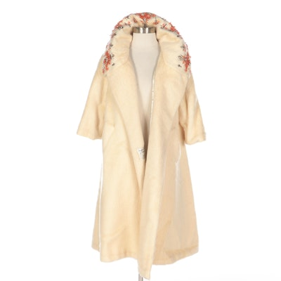 Lilli Ann Three-Quarter Sleeve French Mohair Embellished Swing Coat, 1960s