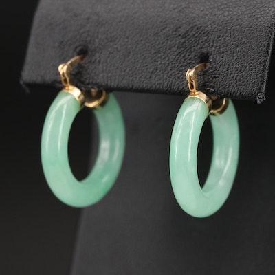 14K Jadeite Hoop Earrings