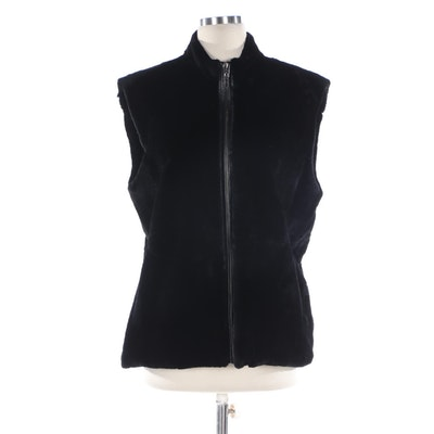 Hiverreine Black Sheared Rex Rabbit Fur Zip Vest with Leather Trim