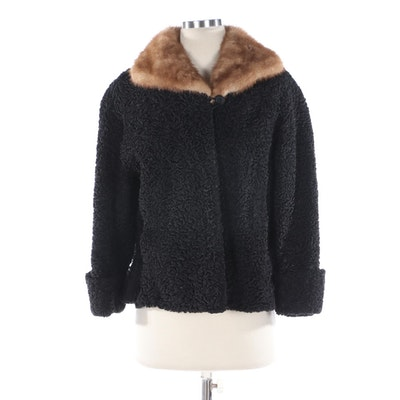 Persian Lamb Jacket with Mink Fur Collar from Dittrich with Aris Gloves
