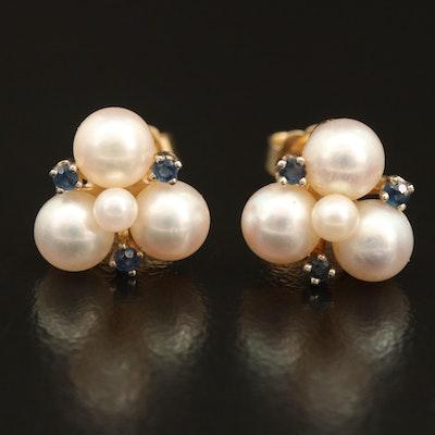 14K Pearl and Sapphire Earrings