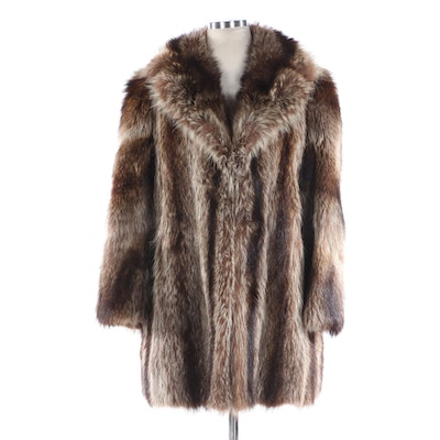 Raccoon Fur Stroller Coat with Wide Notched Collar