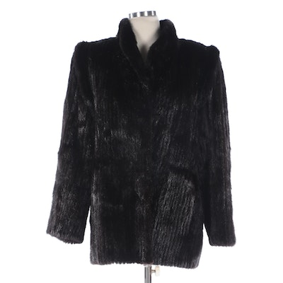 Ranch Mink Fur Jacket with Stand Collar