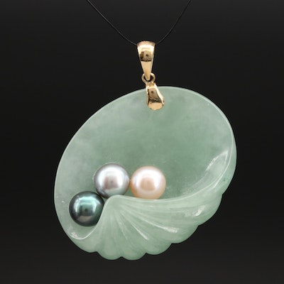 """14K Jadeite and Pearl """"Shell & Pearl"""" Pendant"""
