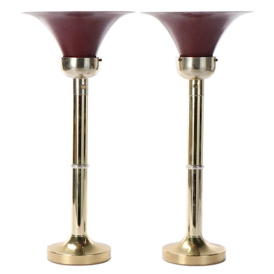 Pair of Art Deco Style Metal and Glass Torchiere Table Lamps