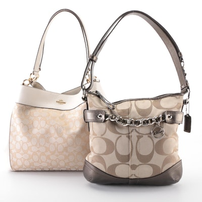 Coach Lexy Bag in Khaki Chalk and Coach Shoulder Bag in Monogram with Bronze