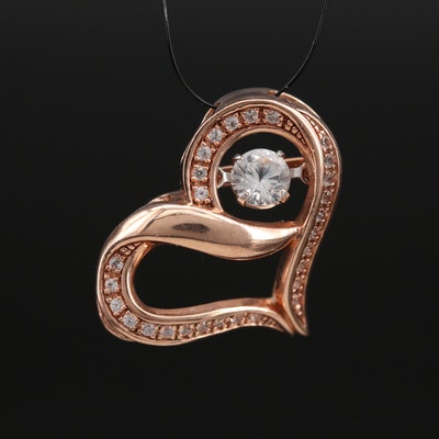 10K Gold Sapphire Heart Pendant