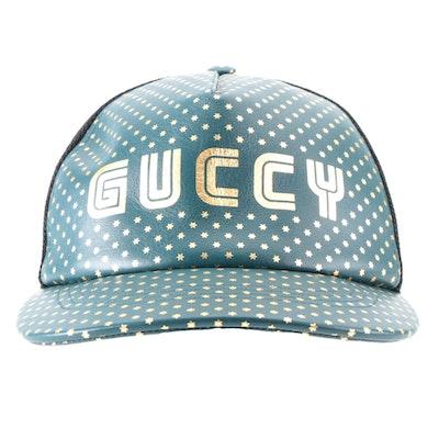 Gucci Shinjuku Japan Exclusive 'Guccy' Trucker Baseball Cap in Blue Leather